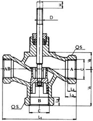 Клапан регулирующий трехходовой, под электромеханический привод PTN 2.20 (2000H)