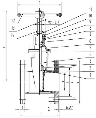 Чертеж Задвижка клиновая ABRA A40 Ру16 EPDM