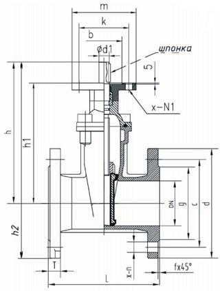 Чертеж Задвижка с обрезиненным клином ABRA A40