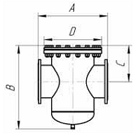 Чертеж Фильтр сетчатый IS17 фланцевый цилиндрический