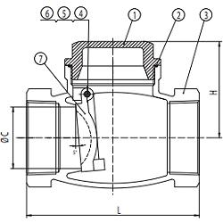 Чертеж Клапан обратный CVT16 Ду15 Ру16 резьбовой из нержавеющей стали
