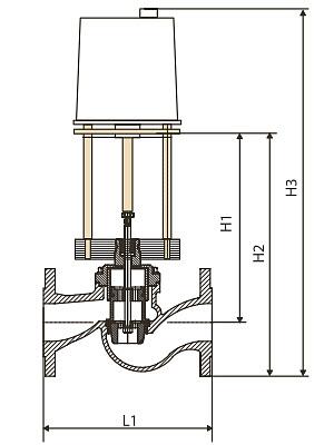 Чертеж Регулирующий клапан КПСР 100 Ду40 Ру16 с эл. приводом Regada чугунный