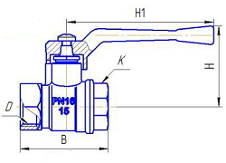 Чертеж Кран шаровой БАЗ 11б27п1 А30 м/м ручка-рычаг