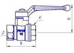 Чертеж Кран шаровой БАЗ 11б27п1 А30 Ду40 Ру16 м/м ручка-рычаг никелированный