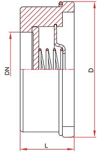 Чертеж Клапан обратный FAF 2370 Ду15 Ру16 тарельчатый межфланцевый