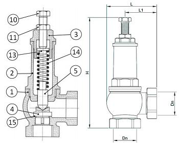 Чертеж Клапан предохранительный Genebre 3190 Ру16 резьбовой латунный
