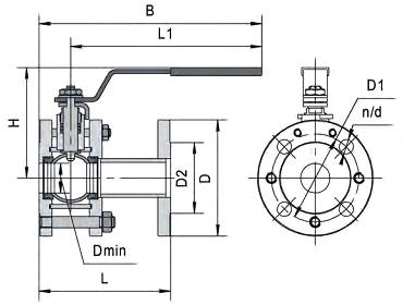 Чертеж Кран шаровый Маршал 11с67п СФ Ду125 Ру25 фланцевый с электроприводом ГЗ-ОФ