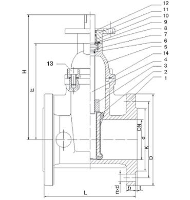 Чертеж Задвижка Гранар KR12 (KR-A) фланцевая с электроприводом ГЗ