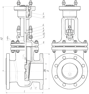 Чертеж Задвижка стальная МЗТА ЗКЛ2-16 30с941нж с электроприводом ГЗ