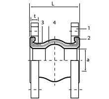 Чертеж Компенсатор резиновый Hels HLS-KK-K Ду32-300 Ру16 фланцевый стальной EPDM