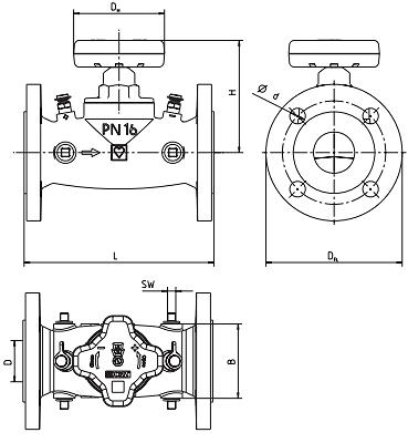 Чертеж Клапан балансировочный Herz Штремакс-GMF Ду80 Ру16 с прямым шпинделем фланцевый