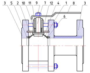 Материалы Кран шаровый ЛАЗ 11с41фт (11с41п) Ду65 Ру16 фланцевый полнопроходной