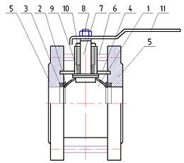 Материалы Кран шаровый ЛАЗ 11с42фт (11с42п) Ду150 Ру16 укороченный фланцевый стандартнопроходной