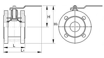 Чертеж Кран шаровый ЛАЗ 11с42фт (11с42п) Ду150 Ру16 укороченный фланцевый стандартнопроходной
