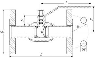 Чертеж крана шарового LD Ду15-150 с фланцевым присоединением