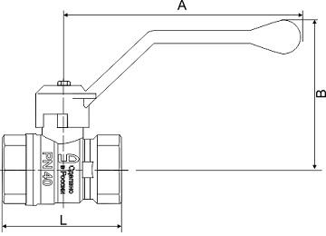 Чертеж Кран шаровый LD Pride 47 (аналог 11б27п1) Ду15 Ру40 муфтовый латунный никелированный