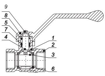 Материалы Кран шаровый LD Pride 47 (аналог 11б27п1) Ду15 Ру40 муфтовый латунный никелированный
