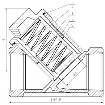 Чертеж Клапан обратный OVG24 Ду8 Ру40 нержавеющий пружинный муфтовый У-образный