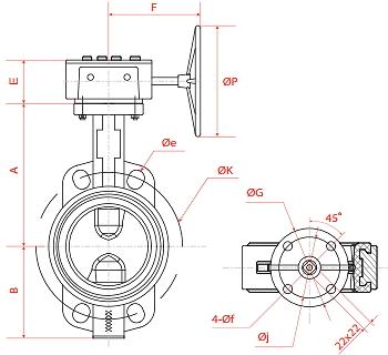 Чертеж Затвор дисковый поворотный Рашворк 200 с редуктором
