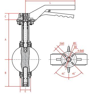 Чертеж Затвор дисковый поворотный Рашворк 201 Ду80 Ру16 с ручкой