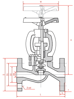 Чертеж Вентиль запорный Рашворк (Rushwork) 315 Ду80 Ру16 чугунный фланцевый