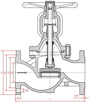 Чертеж Вентиль запорный Рашворк (Rushwork) 334 Ду150 Ру16 сильфонный чугунный фланцевый