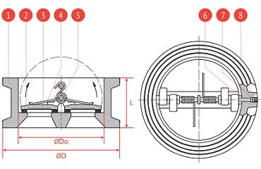Чертеж Обратный клапан Рашворк 400 Ду40 Ру16 двустворчатый