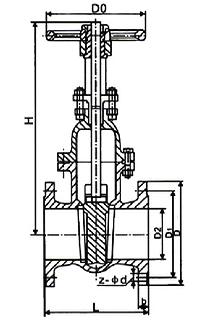 Чертеж Задвижка стальная 30с41нж клиновая фланцевая