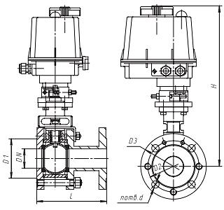 Чертеж Кран шаровой 11с967п Ду10 Ру16 п/п с приводом SP