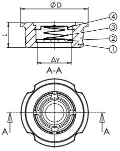 Чертеж Клапан обратный осевой Tecofi CA6460 межфланцевый нержавеющий