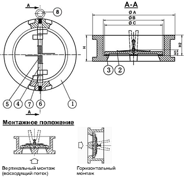 Чертеж Клапан обратный Tecofi CB3449 межфланцевый двухстворчатый