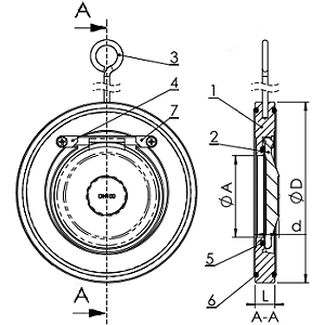 Чертеж Клапан обратный нержавеющий Tecofi CB6441 межфланцевый одностворчатый