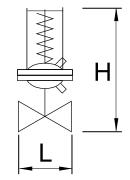Чертеж Регулятор перепада давления RDT прямого действия фланцевый