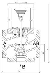 Чертеж Клапан регулирующий седельный TRV-3 трехходовой с ЭИМ ST 230В