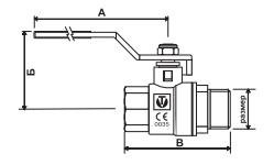 Чертеж Кран шаровой Valtec Base VT.215 Ду25 Ру40 резьбовой В-Н с ручкой