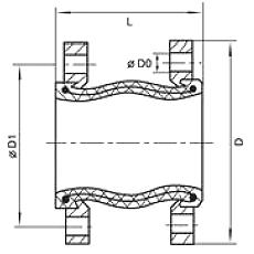 Чертеж Компенсатор резиновый Yuanda EPDM фланцевый антивибрационный