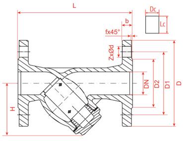 Эскиз габариты и размеры фильтр сетчатый Рашворк (Rushwork) 601 Ду15-40 Ру16 чугунный фланцевый с магнитной вставкой