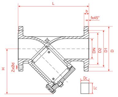 Эскиз габариты и размеры фильтр сетчатый Рашворк (Rushwork) 601 Ду50-400 Ру16 чугунный фланцевый с магнитной вставкой
